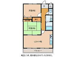 滋賀県東近江市沖野1丁目の賃貸マンションの間取り
