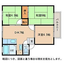 滋賀県愛知郡愛荘町東円堂の賃貸アパートの間取り