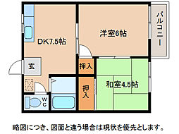滋賀県東近江市五個荘河曲町の賃貸アパートの間取り
