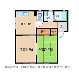 ニューハイツ・K[1階]の間取り
