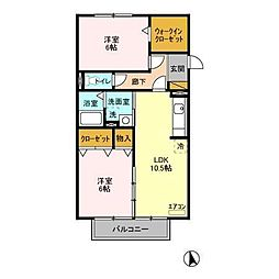 JR内房線 長浦駅 バス6分 蔵波台下車 徒歩4分の賃貸アパート 2階2LDKの間取り
