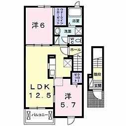 JR内房線 袖ヶ浦駅 徒歩9分の賃貸アパート 2階2LDKの間取り