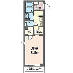 JR内房線 五井駅 徒歩10分の賃貸マンション 2階1Kの間取り