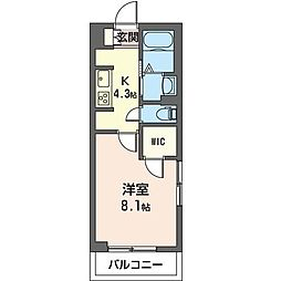 JR内房線 五井駅 徒歩10分の賃貸マンション 1階1Kの間取り
