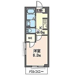 JR内房線 五井駅 徒歩17分の賃貸マンション 1階1Kの間取り