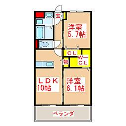 メゾン楓 2階2LDKの間取り