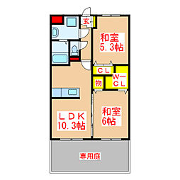 メゾン桜 1階2LDKの間取り