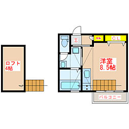 JR日豊本線 帖佐駅 徒歩7分の賃貸アパート 2階ワンルームの間取り