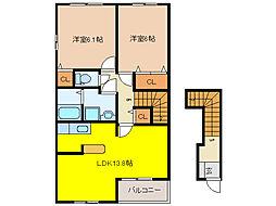 ラ・ミア・カーサB[2階]の間取り
