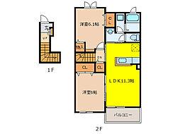 フロリサンテII[2階]の間取り