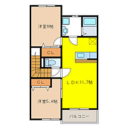 ミニヨン アベイユ[2階]の間取り