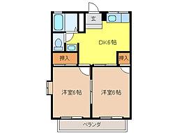 ハイユニ幸[2階]の間取り