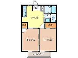 ハイツ新田 B[2階]の間取り