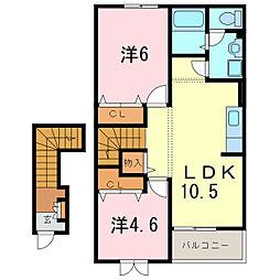 パークサイド大久保D[2階]の間取り