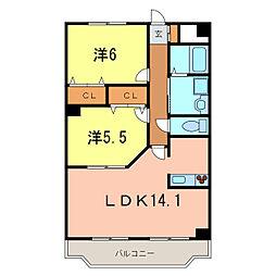 愛知県岡崎市大和町字鳥ケ城の賃貸マンションの間取り