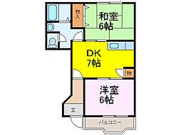 茨城県古河市関戸の賃貸アパートの間取り