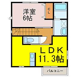 茨城県古河市新久田の賃貸アパートの間取り