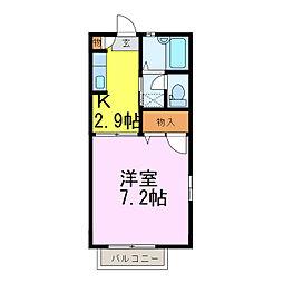 茨城県古河市本町3丁目の賃貸アパートの間取り