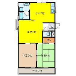 三浦シティーハイツ[3階]の間取り