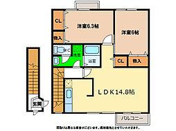 デュエルミサキII C・D[2階]の間取り