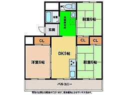 第1福岡ハイツ[305号室]の間取り