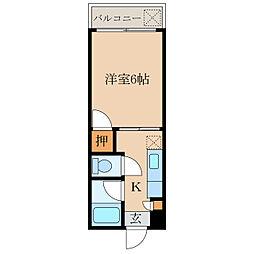 オリンピアマンション 2階1Kの間取り