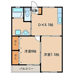 福島ラ・クオーレ[102号室]の間取り