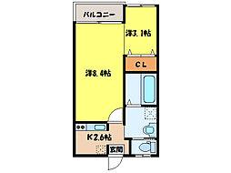 ラポール田崎[1階]の間取り