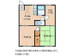 埼玉県東松山市六反町の賃貸アパートの間取り