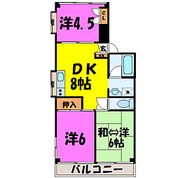 埼玉県東松山市本町2丁目の賃貸マンションの間取り