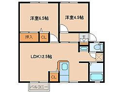 茨城県つくば市梅園2丁目の賃貸アパートの間取り
