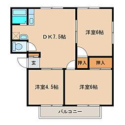 茨城県つくば市並木3丁目の賃貸アパートの間取り