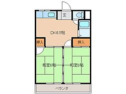 コーポ加藤[1階]の間取り