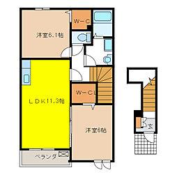 ベストナウハウス B[2階]の間取り
