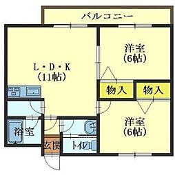 北海道函館市青柳町の賃貸アパートの間取り