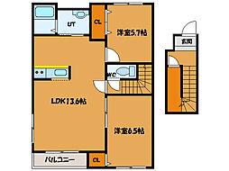 北海道函館市戸倉町の賃貸アパートの間取り
