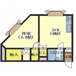 北海道函館市堀川町の賃貸アパートの間取り