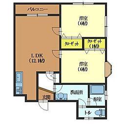 北海道函館市高松町の賃貸アパートの間取り