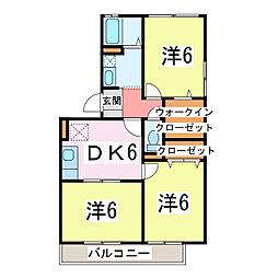 JR内房線 長浦駅 徒歩20分の賃貸アパート 2階3DKの間取り