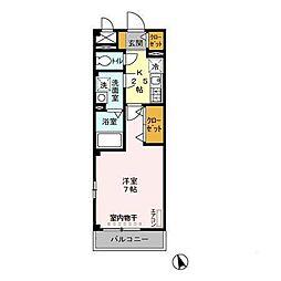 JR内房線 長浦駅 徒歩8分の賃貸アパート 3階1Kの間取り