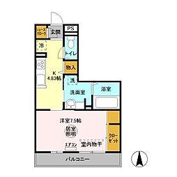 JR内房線 袖ヶ浦駅 バス5分 南蔵波バス停下車 徒歩3分の賃貸アパート 2階1Kの間取り