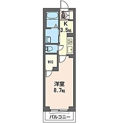 JR内房線 姉ヶ崎駅 徒歩9分の賃貸マンション 3階1Kの間取り