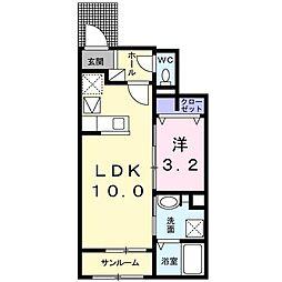 JR内房線 長浦駅 徒歩23分の賃貸アパート 1階1LDKの間取り