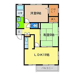 フォブール西須賀[2階]の間取り