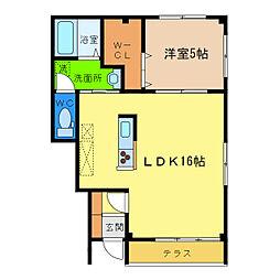 ピース・ディライト A棟[1階]の間取り