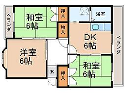 ヴィラージカミノキI・II[2階]の間取り