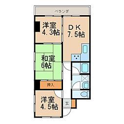 センチュリーコート紀ノ川[2階]の間取り