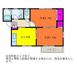 グリーンヒル3[1階]の間取り