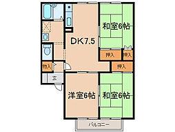 タウンKOSE1棟[2階]の間取り