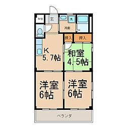 メゾン田県[3階]の間取り